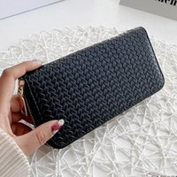 Card Holders Womens Weave Artificial Leather Long Wallet Purse Elegant Solid Color Zip Around Clutch Bag Holder Phone Case Pouch
