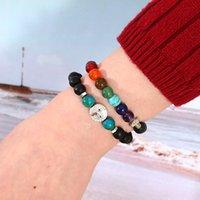 7 chakra armband für männer frauen 8mm schwarz laca perlen elefant / buddha / life baum yoga heilung ätherisches öl diffusor armband-z 229 r2