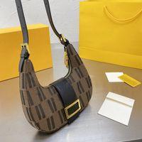 Винтажная сумка круассан Hobo сумка Холст подмышенные сумки на ремне модные буквы золотой хасп леди