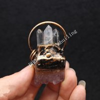 Amethyst Crystal Cluster Electroformed Triple Clear Cardz Point Подвеска ручной работы Freeform натуральный фиолетовый Druzy White Rick Stick Gemstone Медный обруч