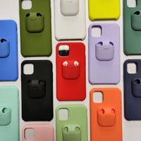 AirPods Case + Funda líquida para iPhone 12 2In1 Tapa trasera de plástico de silicona para iPhone 12 11 Pro Max XR XS 7 8 Plus