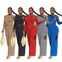 여성의 두 조각 바지 세트 여성 가을 패션 순수한 색상 섹시한 롱 슬리브 느슨한 어깨 너비 다리 바지 정장 도매 드롭