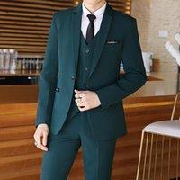 Men's Suits & Blazers (Jacket+Vest+Pants)2021Men Suit Wedding Pure Color Casual Formal Business Groom Blazer 3-Pieces Set Slim Fit Mens