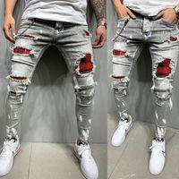 Mens Skinny Ripped Jeans Plaid Patchwork Denim Trousers Hip-Hop Print Jogging Pencil High Quality Denim Men Pants Size 29 38 42