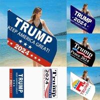 150*75CM Quick Dry Febric Bath Beach Towels President Trump 2024 KEEP AMERICA GREAT KAG Towel US Flag Printing Mat Sand Blanket EWB8568