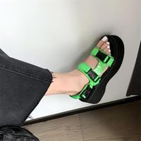 Dress Shoes PXELENA Street Cool Girls Chunky Platform Wedge High Heels Sandals Women Genuine Leather Punk Rock Gothic Green Summer