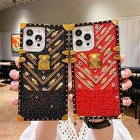 Top fashion square phone cases for iphone 13 Pro Max 12 mini 11 XR XSMax 7 8 plus 6S SE2 Glitter leather Diamond G designer CellPhone Case