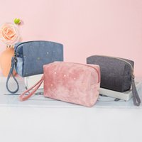 Vintage Womens Soft Velvet Cosmetic Bag Zipper Gold Star Makeup Bags Solid Color Female Travel Make Up Pouch Beauty Cases