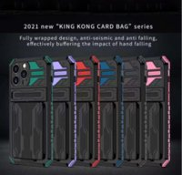 Detachable Card Bag Cell Phone Cases For iPhone 13 13Pro Max 12Pro XR 11Pro 7Plus 8Plus Shockproof KING KONG Hard Shell Back Cover