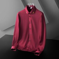 Men's Dress Shirts 2021 Autumn Fashion All-match Pure Color Light Business Style Korean Simple Trend Long-sleeved Shirt Top