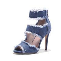La qualità della qualità delle signore Denim Jeans Blue Jeans larga larghezza High Heeld Back Zip Up Cinghia Sandali Donne Sandali pronti