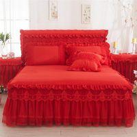 Biancheria da letto in pizzo Gonna Pizzo Pink Romantico Romantico Matrimonio Bed Bed Cover Cover Principessa Copriletto Letto Strato del letto King Queen Twin Dimensione tessile casa 356 R2