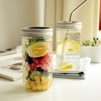 Jar glass cups Mugs Jam Vegetable Salad Food savers storage containers Sealed canning juice engraved bottles with lid and straw WLL830