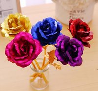 Christmas Day Gift 24k Gold Foil Plated Rose Creative Gifts Lasts Forever Rose for Valentine e's Day girl gifts FWF6987