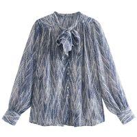 Katara Vintage Loose O Neck Blouses Women Fashion Serpentine Printed Shirts Elegant Bow Long Sleeve Tops Female Ladies GAA Women's &