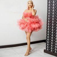Suknia Balowa Mini Homecoming Dresses Krótkie bez ramiączek Tulle Dress Party Suknie wieczorowe Custom Made Puffy Prom Suknie na Photo Urodziny Shoot Vestidos
