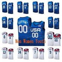 USA Basketball Jersey 2020 Sommer Olympiade Khris 8 Middleton Jerami 9 Grant Kevin 11 Liebe JRue 12 Holiday Bam 13 Adebayo Draymond 14 Green 2021 Tokyo Nationalmannschaft
