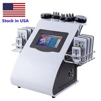 Estoque EUA Slimming Home Uso 6 em 1 40K Cavitação Ultrasônica Vácuo Rádio Frequência Laser 8 Pads Beauty Equipamento
