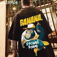 Zazomde хип-хоп мужская хлопковая футболка мода свободных мужчин BF студент банановый принт с короткими рукавами Tees Cool человек носить круглые шеи футболка 210329