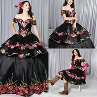 Black Quinceanera Dresses Charro Detachable Skirt Floral Embroidered Off The Shoulder Sweet 16 Dress Mexican Theme Plus Size Gothic Masquerade Gowns