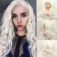 Platinum Blonde white Lace Front Wig Natural Long Wavy Glueless Pink Brown Orange Purple Red Synthetic Fiber Hair Replacement Wigs Synthetics