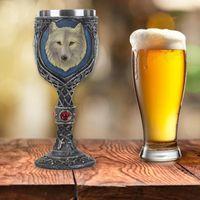 Kupalar Çift Paslanmaz Çelik Kurt Kupa Bira Stein Tankard Kahve Çay Su Kupası Knight Kask Cadılar Bayramı Barı Drinkware GIF