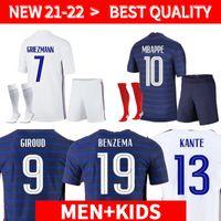 21 22 Grizmann Mbappe Soccer Jersey Kante Centenaire قميص Pogba Football Jersey فرنسا 2021Benzema Giroud Kimpembe Men + Kids Set