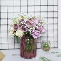 YUMAI 12 Kafa Ipek Pembe Gül Çiçekler Yapay Buket Gelin Gelinlik El Güller Çiçek Düğün Centerpieces Masa Dekor Için HWE5295
