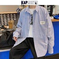Camisas casuales de los hombres Kapments Hombres Camisa a rayas coreanas Manga larga 2021 Hombre Harajuku Streetwear Sleed Par Fashion Fashion Ropa de KPOP