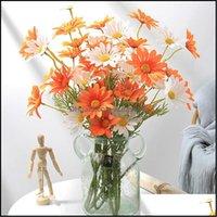 Wreaths Festive Party Supplies Gardenwhite Daisy Artificial Flowers Long Branch Bouquet For Home Wedding Garden Decoration Diy Bridal Silk F