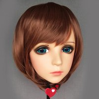 Máscaras de fiesta (Feng-1) Femenina Dulce Chica Resina Media cabeza Kigurumi BJD Ojos Crossdress Cosplay Papel de anime japonés Mascarilla Lolita con y peluca