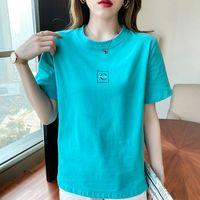 Women's T-Shirt Vetement Femme 2021 Summer Letter T Shirt Women Solid Simple Tee Woman Clothes Korean Fashion Casual Short Sleeve Tops
