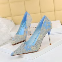 Korean fashion banquet high-heeled shoes women's shoes stiletto high-heeled shallow pointed toe sequined cloth flower single shoes