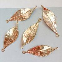 10 ADET 16 * 48mm Moda Metal Alaşım KC Altın Takı Yapımı Için Kolye Charm Yaprakları