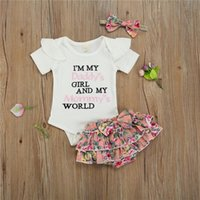 Clothing Sets Baby Girls 3 Piece Summer Outfits Set Short Sleeve Letter Embroidery Romper + Floral Shorts Headband For 0-24 Months