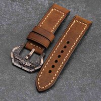 Hand-Brushed Leather Watchband 22 24 26MM Is Suitable For PAM 111 Bronze Watch Strap Submarine Buckle Accessories