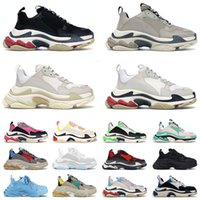 Triple S Paris 17FW Luxury Designer Shoes Classic OG Mens Womens All Black White Grey Pink Red Blue Sail Beige Fashion Platform Sneakers Trainers Casual Outdoor