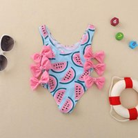 One-Pieces 2021 Baby Siamese Bikini Watermelon Printed Swimming Costume 0-4 Years Toddler Infant Swimsuit Girls Bowknot Hollow Swimwear