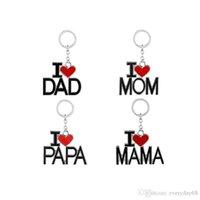 2021 Vatertag Geburtstag Bestes Geschenk Ich liebe Papa Mama Kreative Briefe Keychain mit rotem Herzen Mode Liebe Edelstahl Schlüsselketten