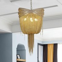 Pendant Lamps Industrial Style Gold   Silver Tassel Led Lights E14 Chain Hanging Lamp Living Room Suspend Light Luminarias Fixture