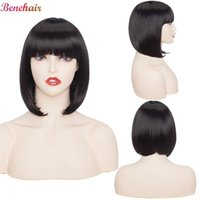 Synthetic Wigs Benehair Straight Bob Wig With Bangs Short For Women Cosplay American Style Natural Black Pink Blue Hair