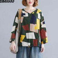 Plus größe frauen bluse shirts dame tops tunika casual baumwolle leinen lose frühling druck patchwork dünne grundlegende weibliche kleidung 210531