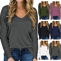Women's T-Shirt Casual Loose Solid Color Basic Pullover Fashion Print V-neck Long-Sleeved 2021 Blusas Mujer De Moda