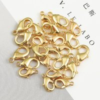 18K Gold 10Pcs 10mm 12mm Copper Metal Lobster Clasps Hooks Bracelet End Connectors For Jewelry Making DIY Necklace Buckle