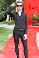 Men's Body Shapers Sexy T-shirt Leotard Perspective Long-sleeved Tight Slim Fit Summer