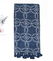 20 ретро этнический стиль тибетский синий маленький цветочный шарф тонкий печать шаль японский чистый белье шарф шарфы женщины