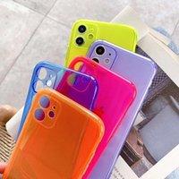 Klare Neon-Florescent-Hüllen für iPhone XR 11 PRO MAX 12 XS 8 7 6 6S PLUS SE 2021 Telefongehäuse Weiche Abdeckung Transparente dünne Frauen