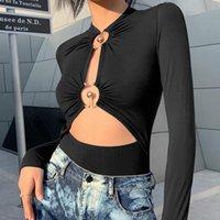Stilvolles und einzigartiges Design Aushöhlen dünne Bodysuit Frühling Fall Oansatz Solid Black Pullover Langarm Frauen Sexy Strampler Frauen Overall
