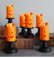 Halloween Candle Light LED Colorful Candlestick Table Top Decoration Pumpkin Party Happy Halloween Party Decor For Home 2021