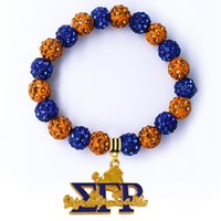 Charm Bracelets Arrival Greek Society Sorority Jewelry Elastic Bangle Enamel Metal SIGMA GAMMA RHO Poodle Pendant Bead Bracelet